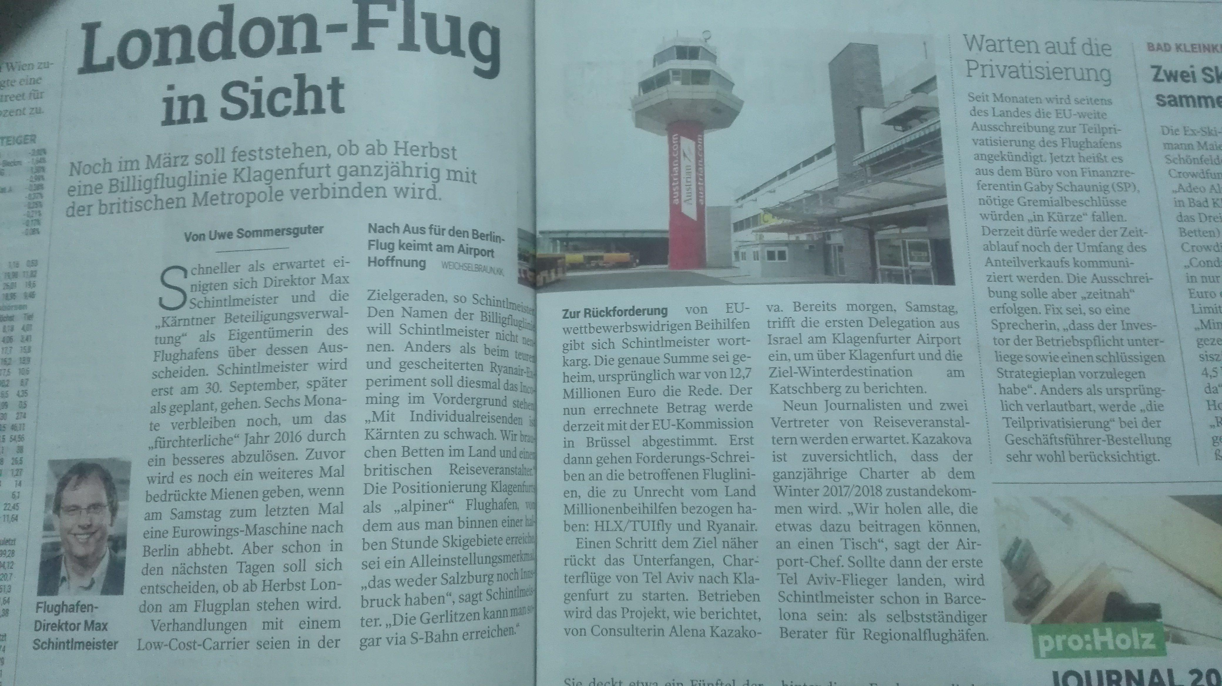London Flug Klagenfurt Airport